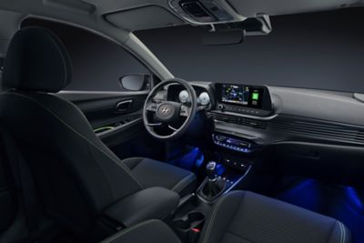 The all-new Hyundai i20 interior with active LED ambient lighting, back seat perspective