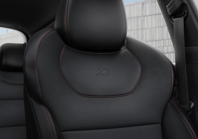 Close-up of the high-performance sport seats in the new Hyundai i30 N Line Fastback.