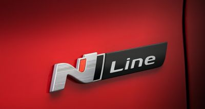 Close up of the N Line badge on a new i30 Wagon N Line
