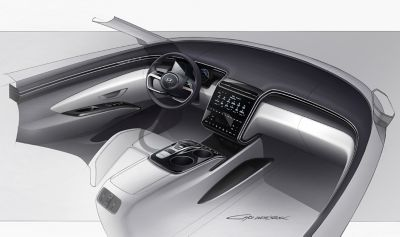 Design sketch of the all-new Hyundai Tucson compact SUV futuristic cockpit.